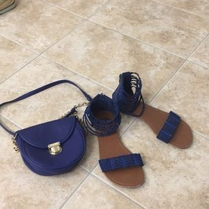 LA HEARTS Cobalt blue sandals + bag combo size 6